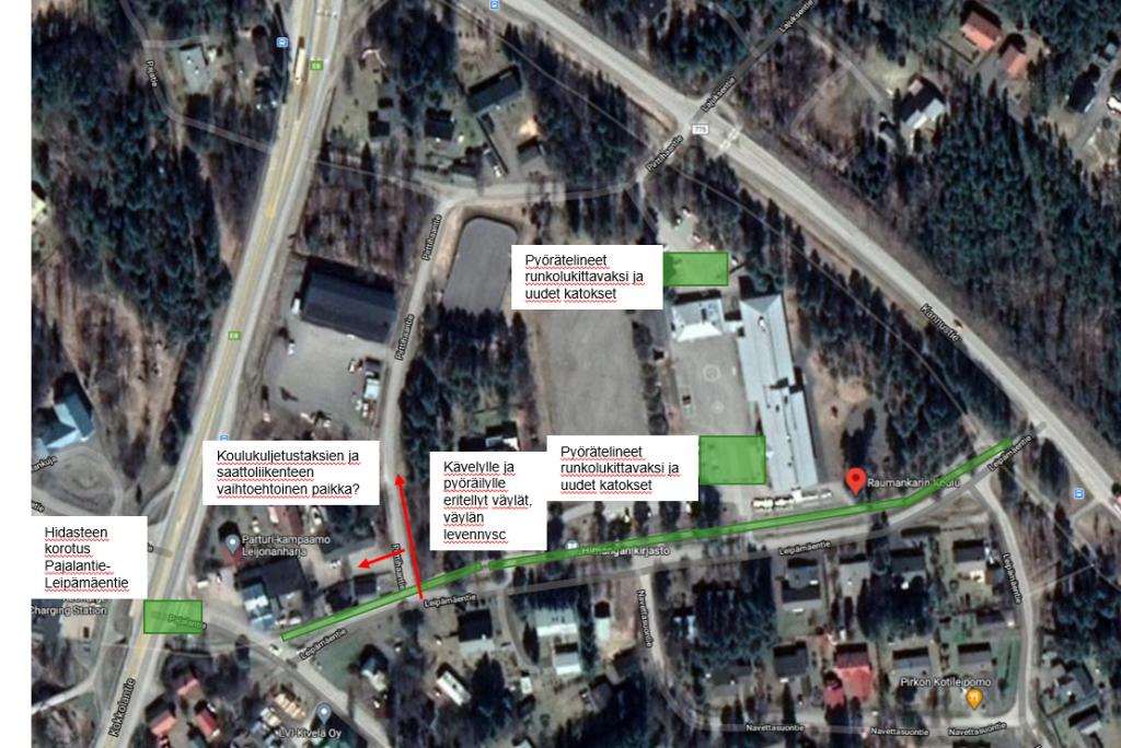 Kuva: Fiksusti kouluun -ohjelma teki Raumankarin koululle kehittämisehdotukset olosuhteiden parantamiseksi. Kehittämisehdotukset otetaan huomioon viimeistään liikuntapuistosuunnittelun käynnistyessä.